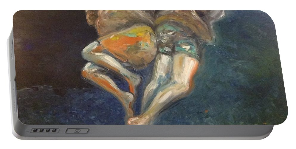 Figures Portable Battery Charger featuring the painting Tethered by Riek Jonker