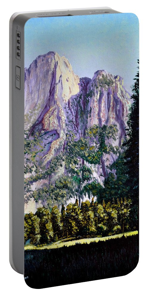 Mountain Portable Battery Charger featuring the painting Tetons by Stan Hamilton