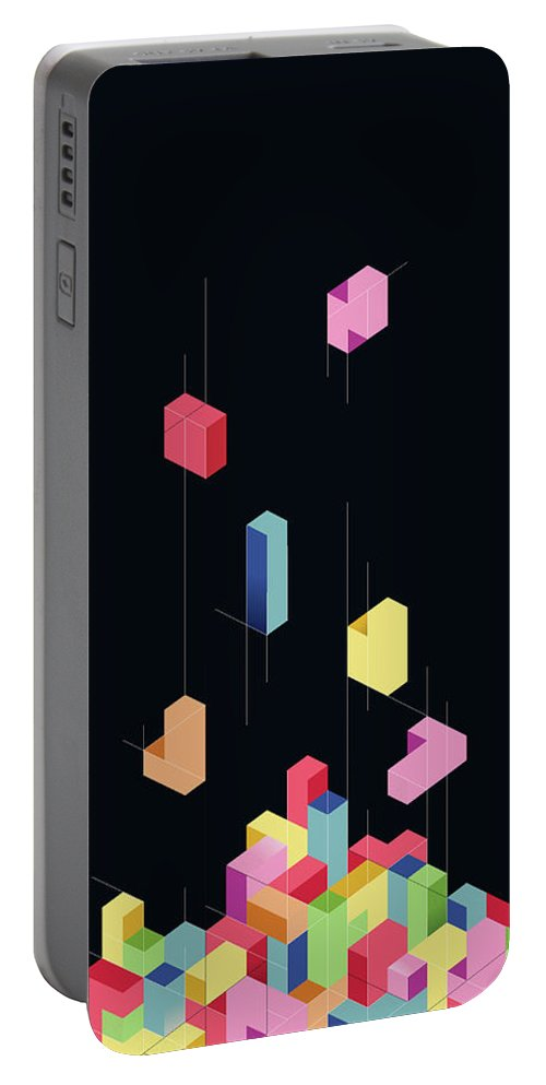 Shapes Portable Battery Charger featuring the digital art Tetrisometric by Corsac Illustration