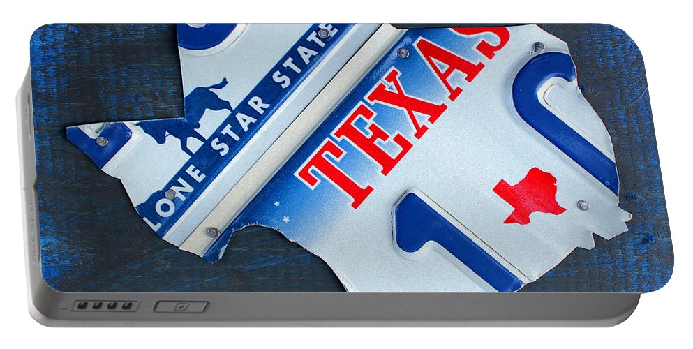 Texas Portable Battery Charger featuring the mixed media Texas License Plate Map by Design Turnpike