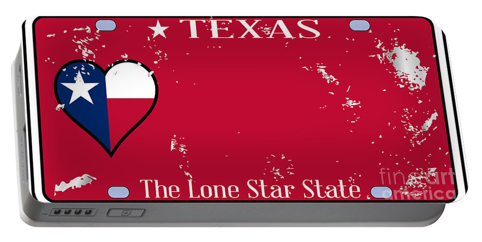Texas Portable Battery Charger featuring the digital art Texas State License Plate With Damage by Bigalbaloo Stock