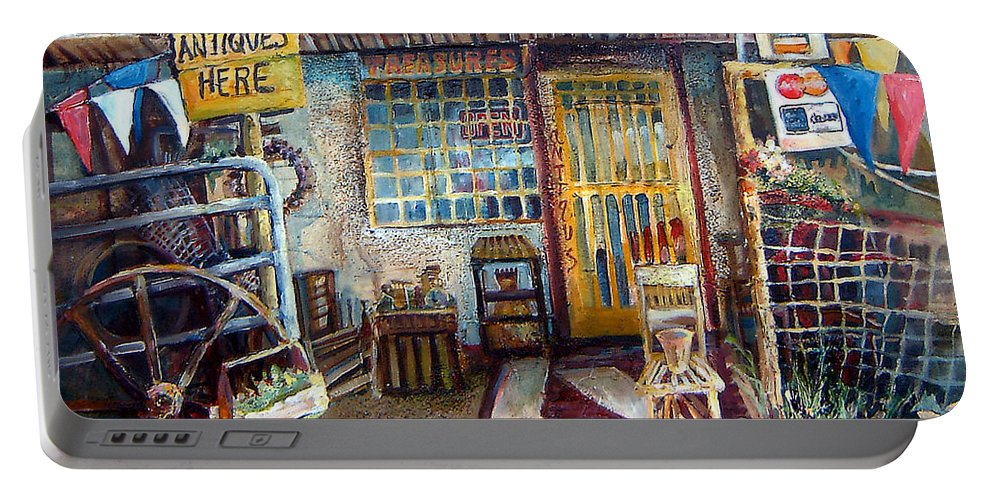 Store Front Portable Battery Charger featuring the painting Texas Store Front by Linda Shackelford