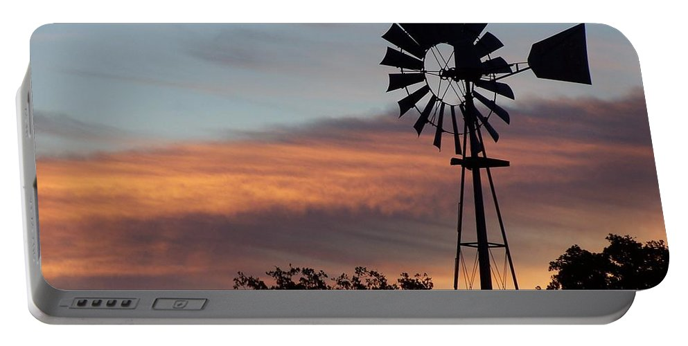 Windmill Portable Battery Charger featuring the photograph Texas Sunrise by Gale Cochran-Smith
