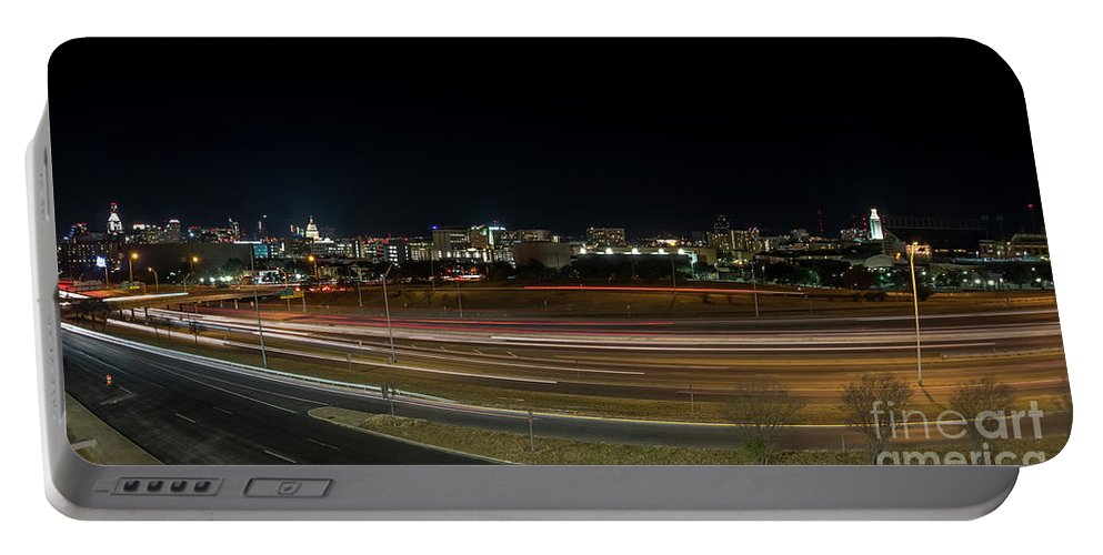 Austin Portable Battery Charger featuring the photograph Texas University Tower And Downtown Austin Skyline From Ih35 by PorqueNo Studios