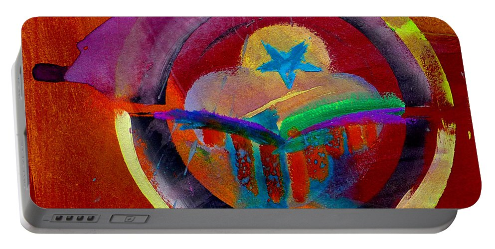 Button Portable Battery Charger featuring the painting Texicana by Charles Stuart