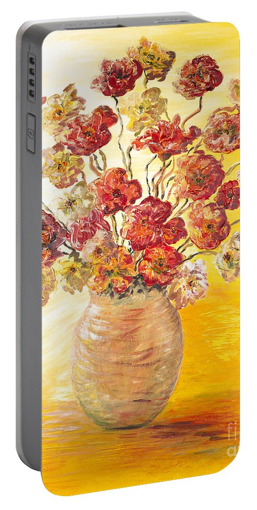Flowers Portable Battery Charger featuring the painting Textured Flowers In A Vase by Nadine Rippelmeyer