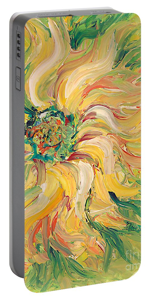 Texture Portable Battery Charger featuring the painting Textured Green Sunflower by Nadine Rippelmeyer