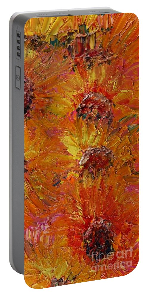 Sunflowers Portable Battery Charger featuring the painting Textured Sunflowers by Nadine Rippelmeyer