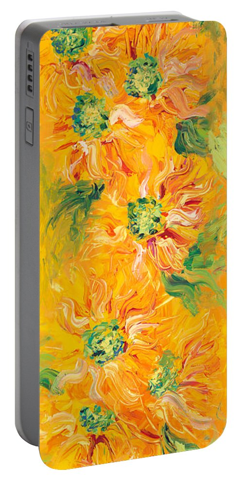 Yellow Portable Battery Charger featuring the painting Textured Yellow Sunflowers by Nadine Rippelmeyer