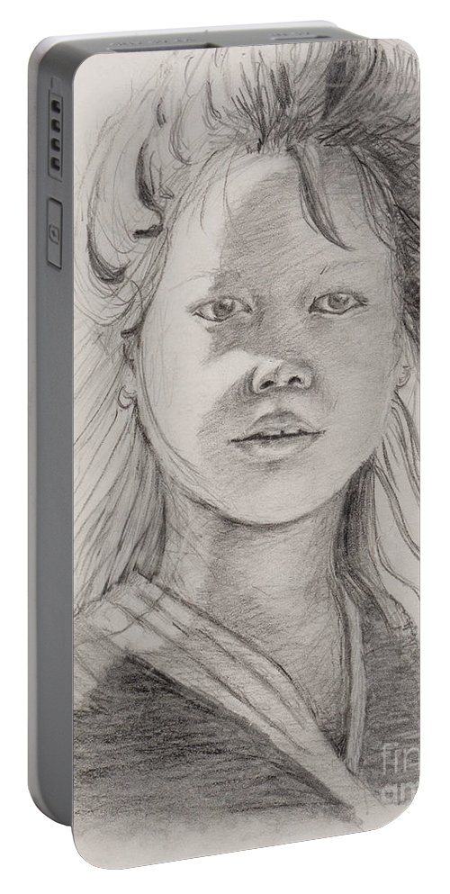 Portrait Portable Battery Charger featuring the drawing Thai Beauty by Nadine Rippelmeyer