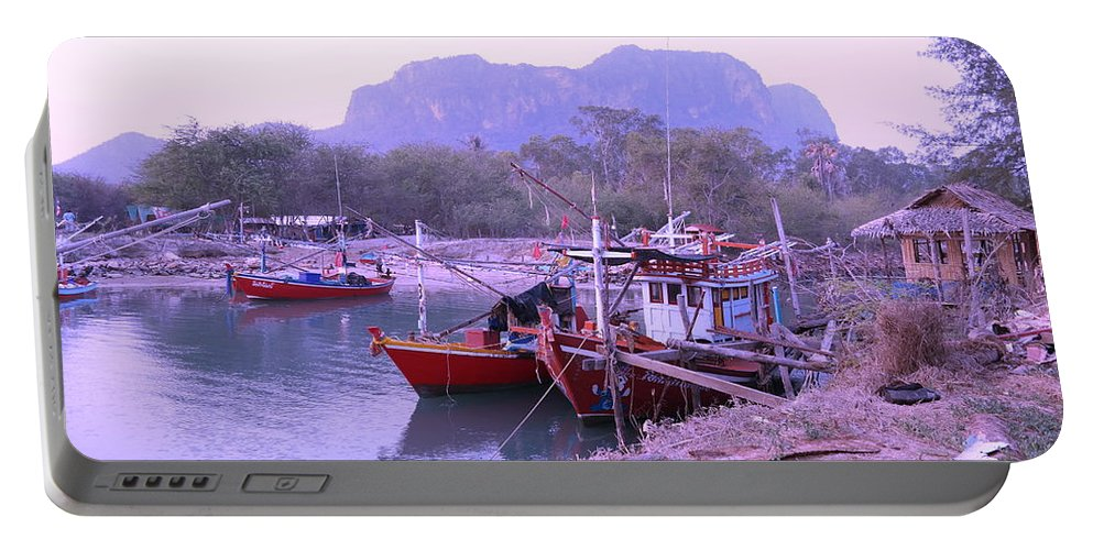 Landscape Portable Battery Charger featuring the photograph Thai Fishing Boats 05 by Pusita Gibbs