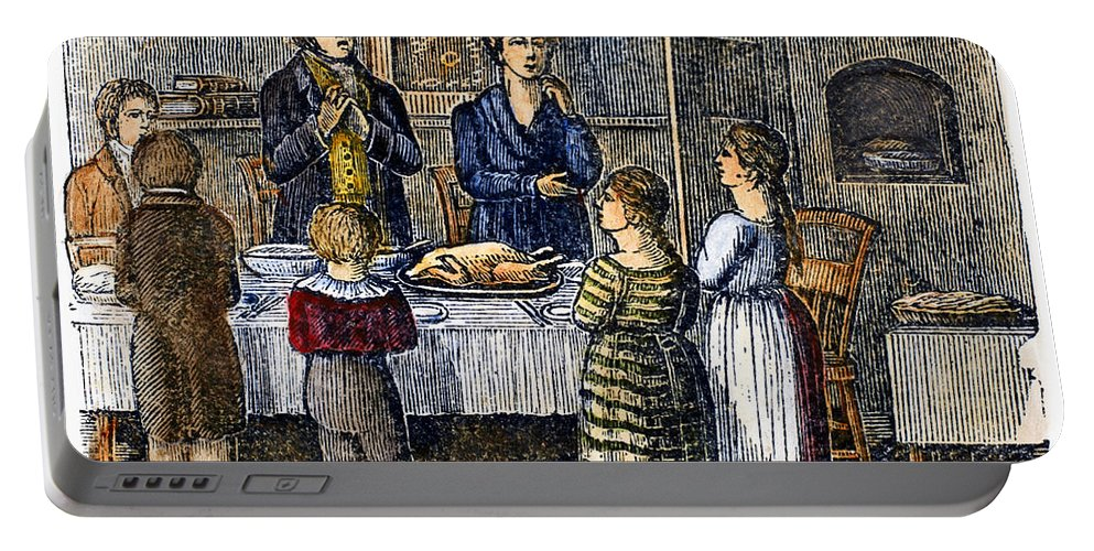 1853 Portable Battery Charger featuring the photograph Thanksgiving, 1853 by Granger