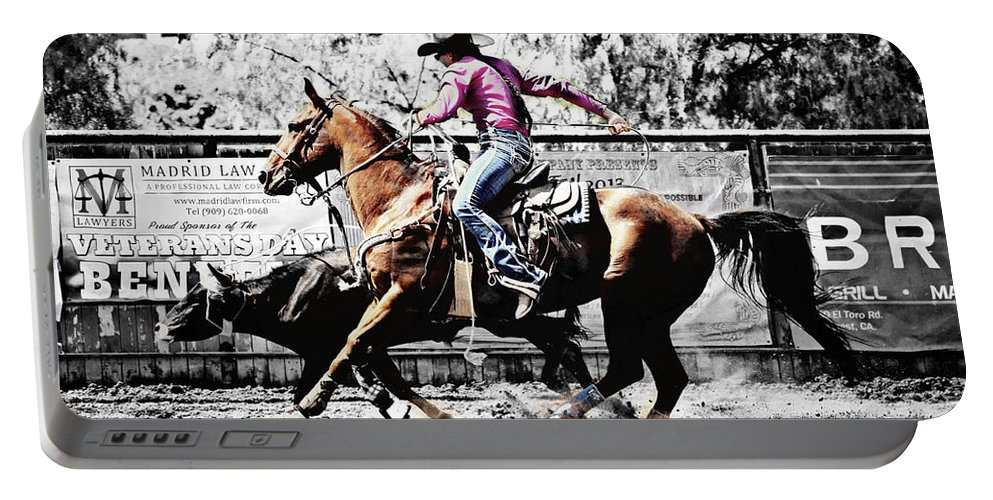 Black And White Portable Battery Charger featuring the photograph That's How It's Done by Sandra Watkins
