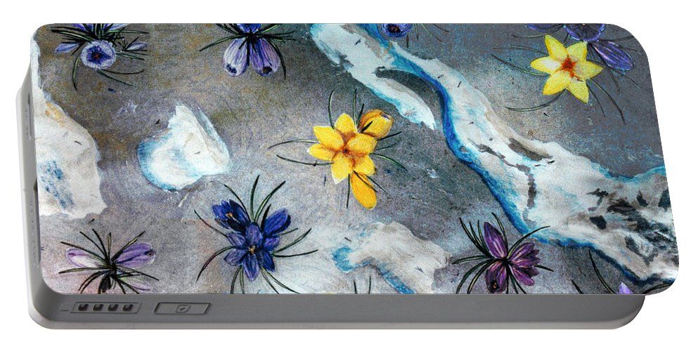 Spring Portable Battery Charger featuring the drawing Thaw by Steve Karol