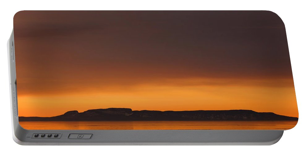 Sleeping Giant Golden Sky Thunder Bay Ontario Canada Shadow Sun Morning Water Sun Thawing Out Portable Battery Charger featuring the photograph Thawing Out by Chris Artist