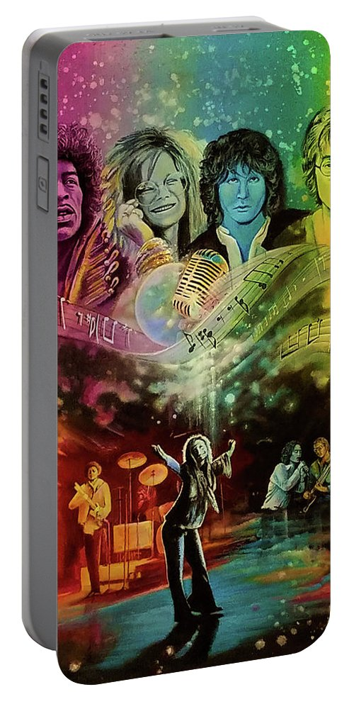 Hendrix Portable Battery Charger featuring the painting The 4js by DC Houle