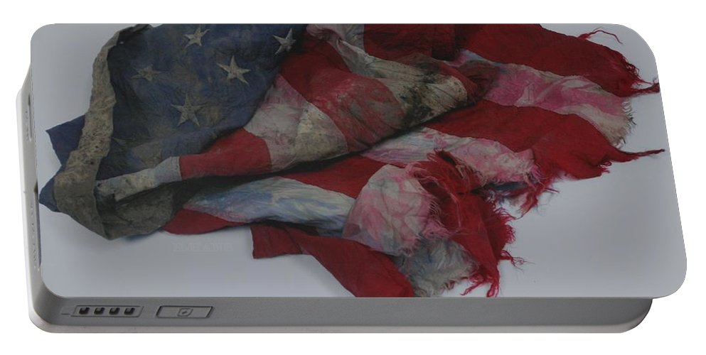 911 Portable Battery Charger featuring the photograph The 9 11 W T C Fallen Heros American Flag by Rob Hans