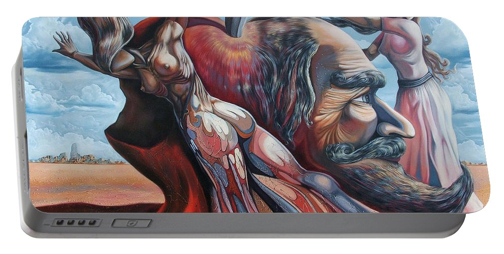 Surrealism Portable Battery Charger featuring the painting The Adam-eve Delusion by Darwin Leon