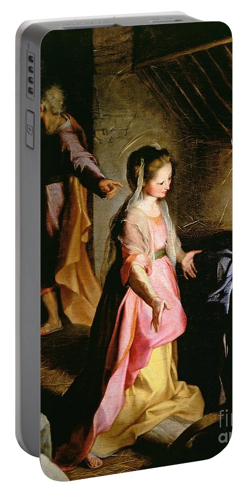 Nativity Portable Battery Charger featuring the painting The Adoration Of The Child by Federico Fiori Barocci or Baroccio