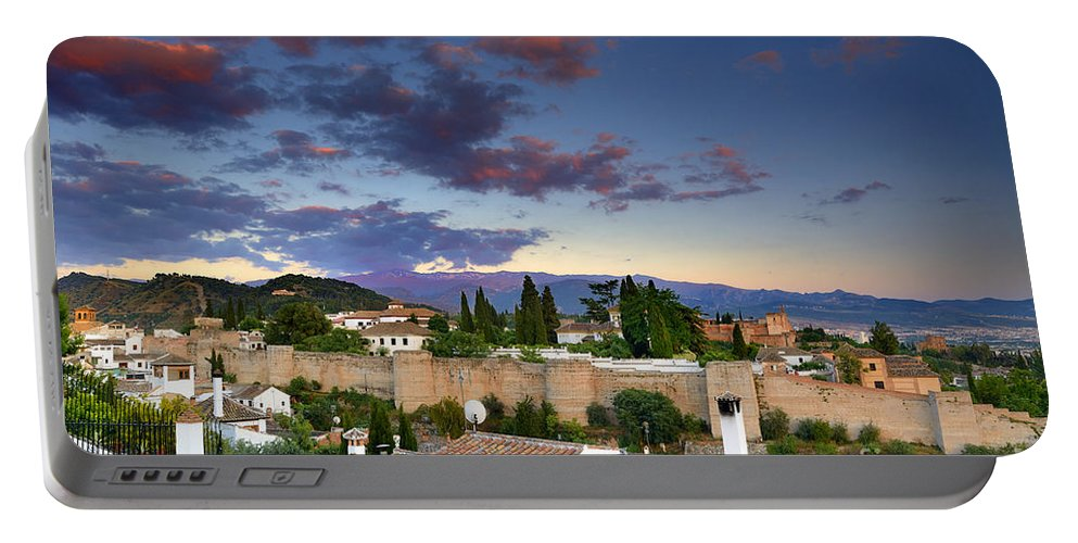 Portable Battery Charger featuring the photograph The Alhambra Palace And Albaicin At Sunset by Guido Montanes Castillo