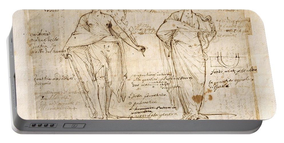 Pietro Testa Portable Battery Charger featuring the drawing The Allegorical Figures Of Reason And Wisdom by Pietro Testa