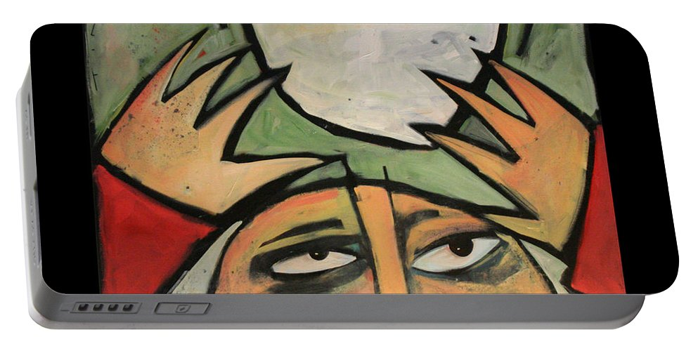 Humor Portable Battery Charger featuring the painting The Amazing Brad Soup Juggler by Tim Nyberg