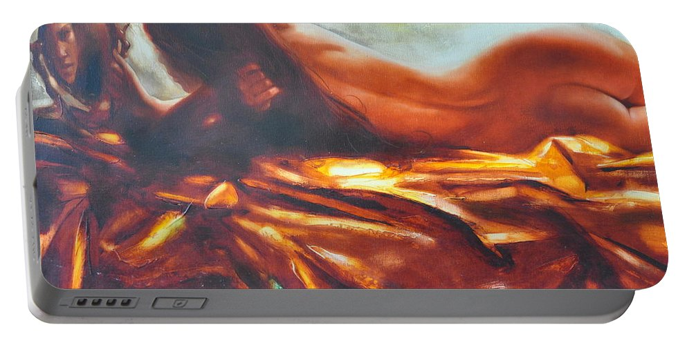 Painting Portable Battery Charger featuring the painting The Amber Speck Of Light by Sergey Ignatenko