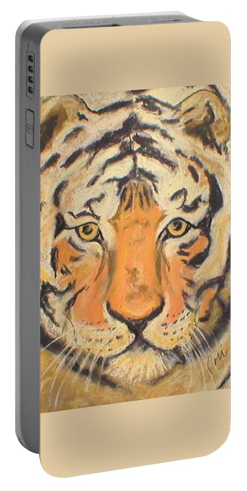 Pastel Portable Battery Charger featuring the drawing The Amber Stare by Cori Solomon