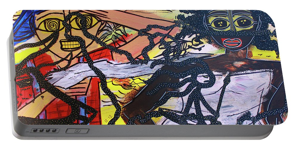 Portable Battery Charger featuring the painting The American Experiment by Odalo Wasikhongo