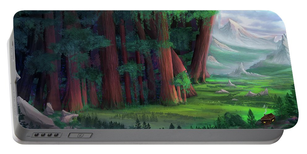 Forest Portable Battery Charger featuring the digital art The Ancient Forest by Johannes Kert Roots