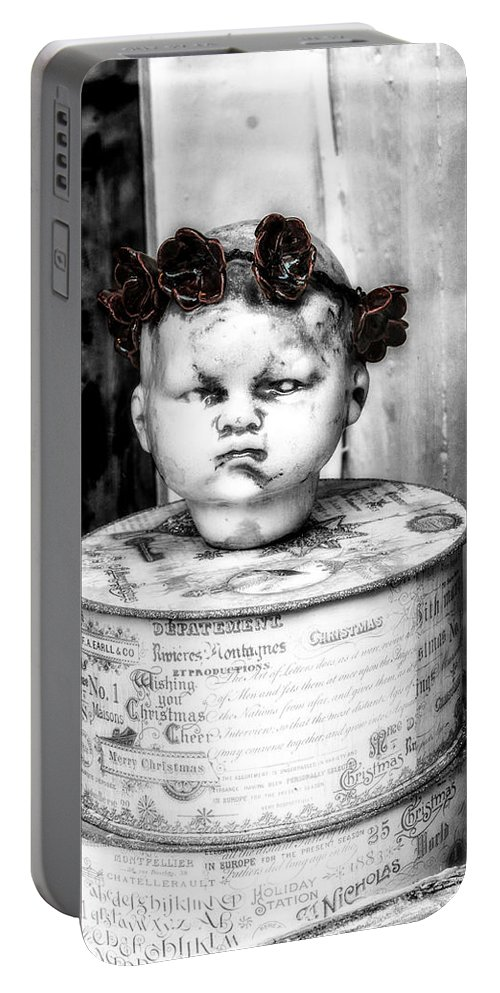 Doll Portable Battery Charger featuring the photograph The Antique Doll's Head by Frances Ann Hattier