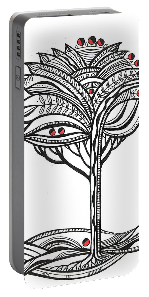 Abstract Portable Battery Charger featuring the drawing The Apple Tree by Aniko Hencz