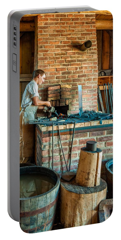 Blacksmith Portable Battery Charger featuring the photograph The Apprentice 3 by Steve Harrington