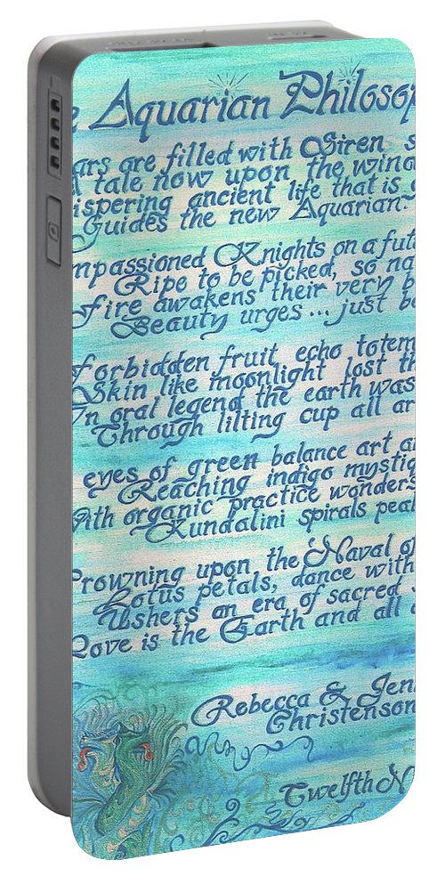 Painted Poetry Portable Battery Charger featuring the painting The Aquarian Philosophy by Jennifer Christenson