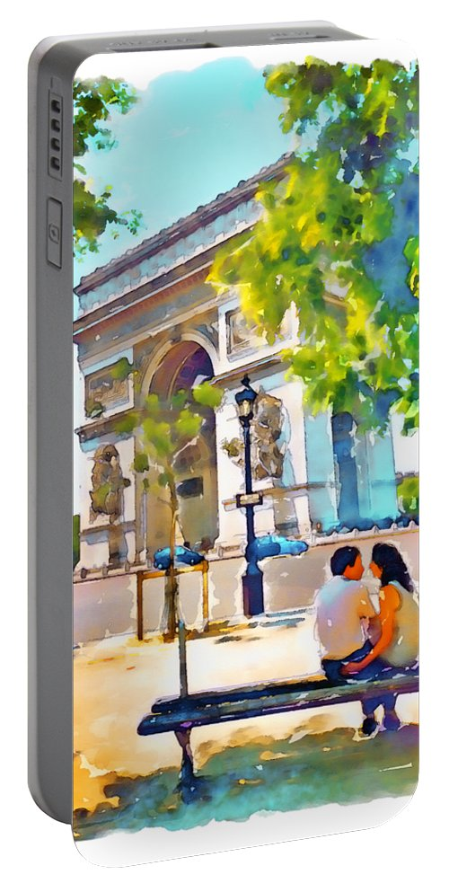 Arch Of Triumph Portable Battery Charger featuring the painting The Arc De Triomphe Paris by Marian Voicu