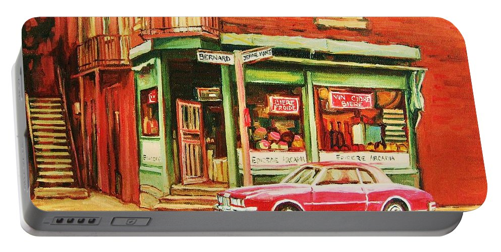 Montreal Portable Battery Charger featuring the painting The Arcadia Five And Dime Store by Carole Spandau