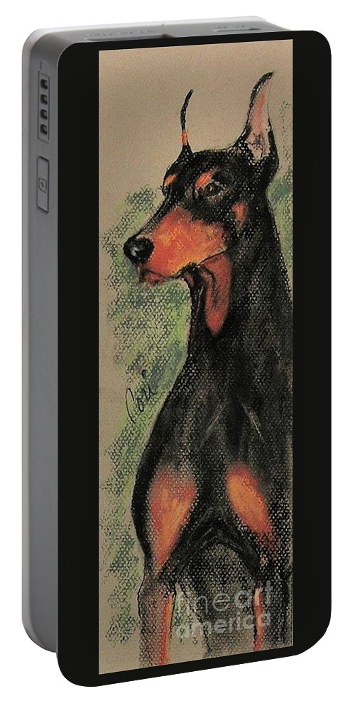 Doberman Pinscher Portable Battery Charger featuring the drawing The Aristocrat by Cori Solomon