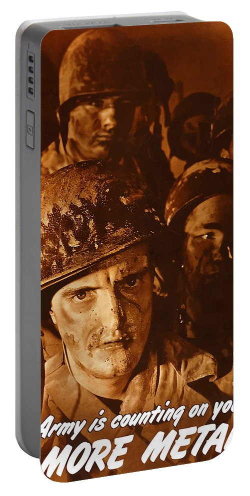 Army Portable Battery Charger featuring the painting The Army Is Counting On You by War Is Hell Store