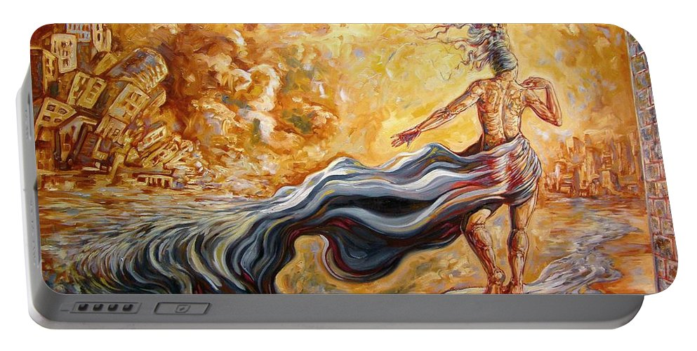 Surrealism Portable Battery Charger featuring the painting The Arrival Of The Goddess Of Consciousness by Darwin Leon