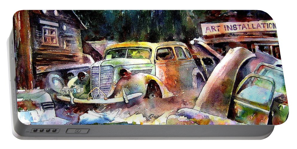 Cars Portable Battery Charger featuring the painting The Art Installation by Ron Morrison