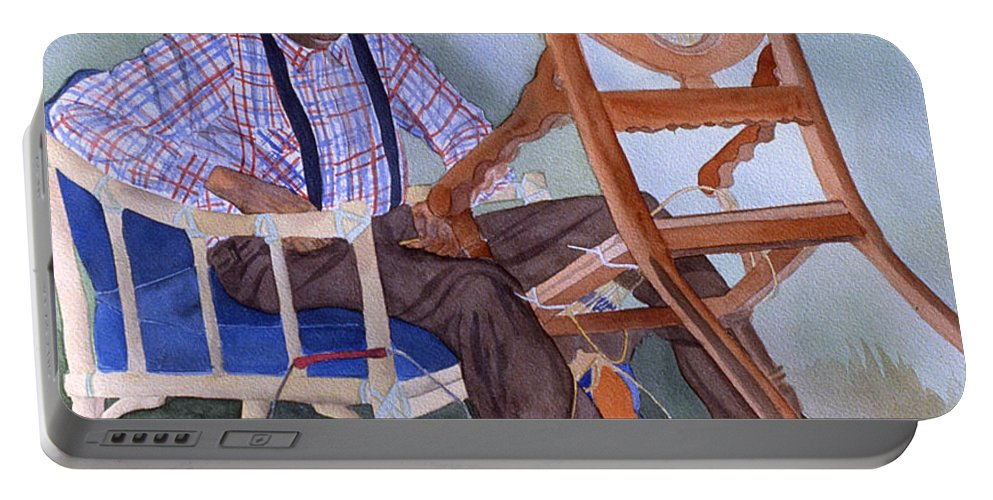 Portrait Portable Battery Charger featuring the painting The Art Of Caning by Jean Blackmer