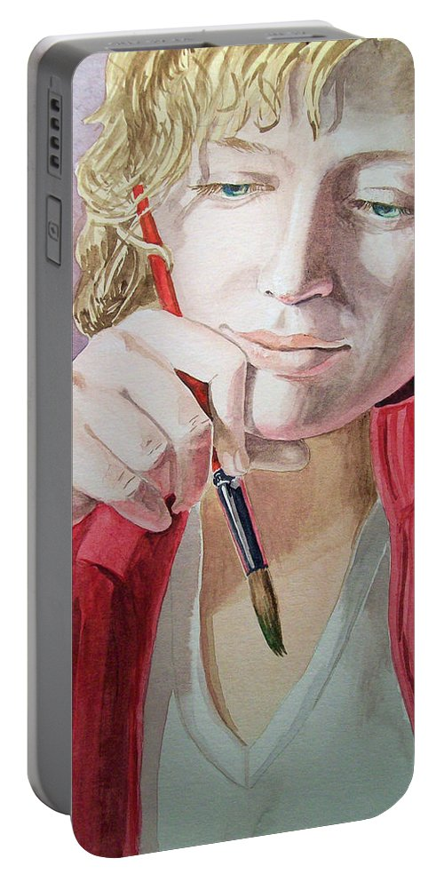 Self Portrait Portable Battery Charger featuring the painting The Artist by Irina Sztukowski