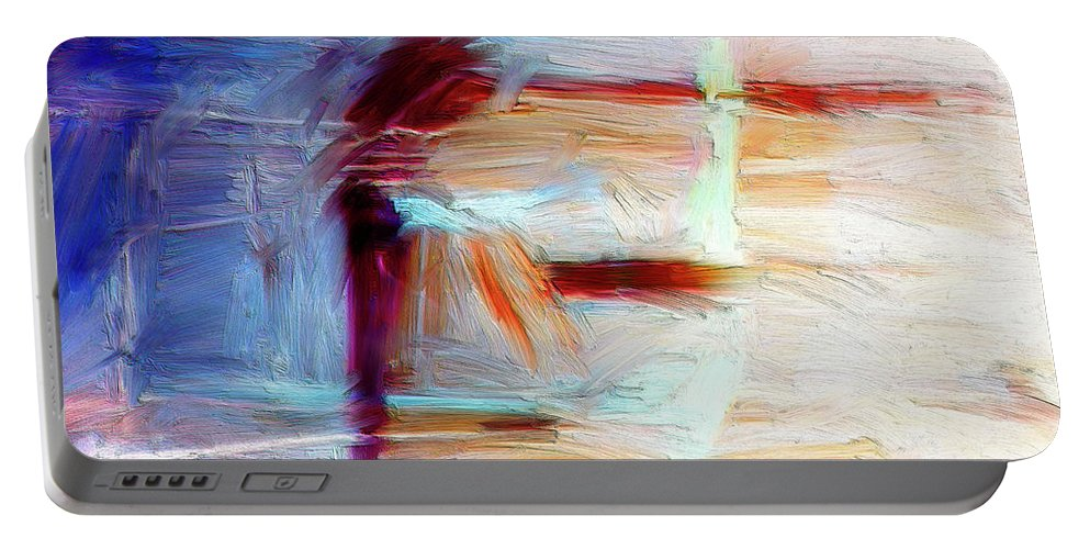 Abstract Portable Battery Charger featuring the painting The Auberge by Dominic Piperata