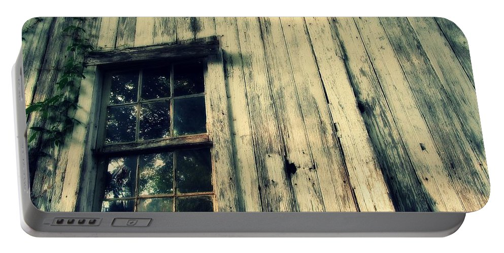 Farm Portable Battery Charger featuring the photograph The Back Of An Old House On My Farm by Lisa Victoria Proulx