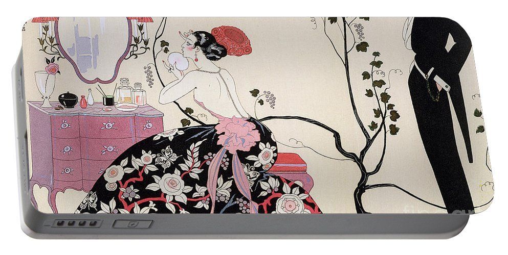 The Backless Dress Portable Battery Charger featuring the drawing The Backless Dress by Georges Barbier