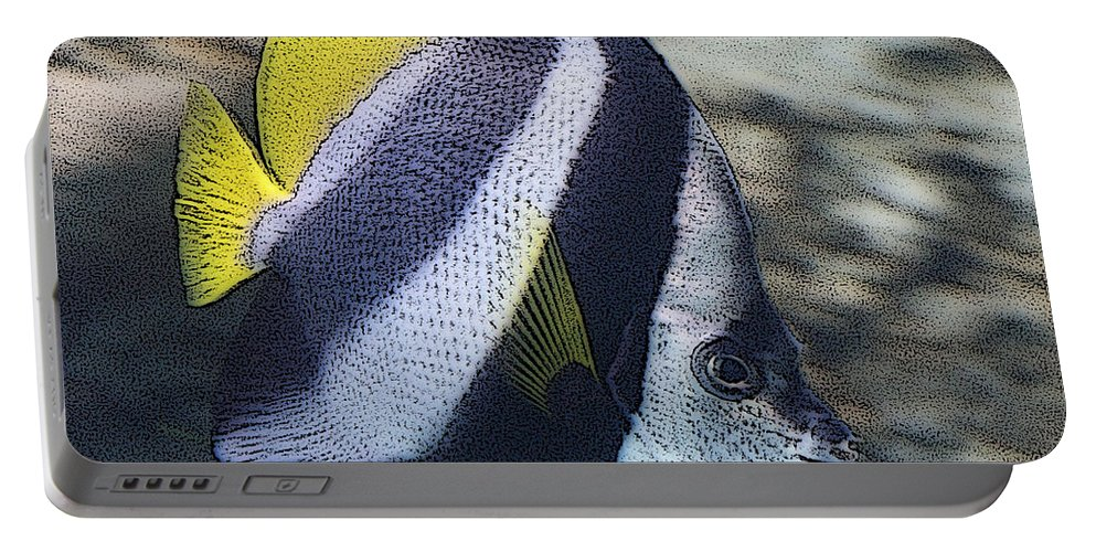 Fish Portable Battery Charger featuring the photograph The Bannerfish by Ernie Echols