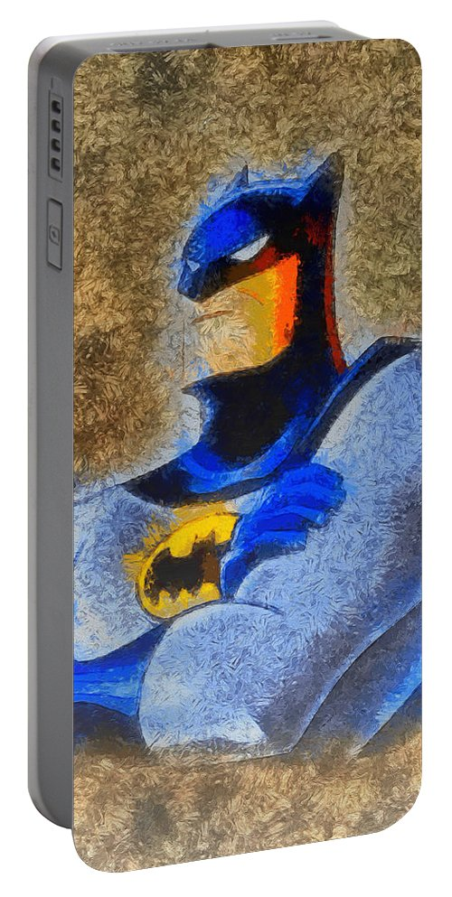 Batman Portable Battery Charger featuring the painting The Batman - Pa by Leonardo Digenio