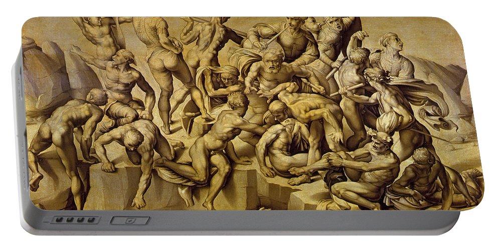 The Battle Of Cascina Portable Battery Charger featuring the painting The Battle Of Cascina by Aristotile da Sangallo