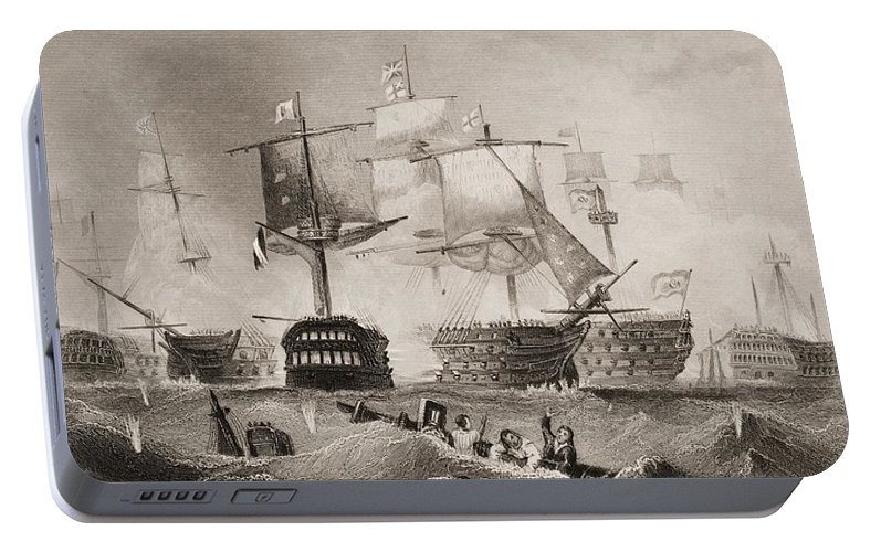Black And White Portable Battery Charger featuring the drawing The Battle Of Trafalgar. Engraved By by Vintage Design Pics