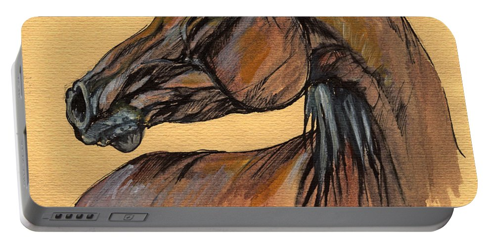 Horse Portable Battery Charger featuring the painting The Bay Arabian Horse 10 by Angel Ciesniarska